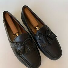 TACCO Footcare Men's Loafers Black Leather tasseled Dress Shoes Size 9.5 M
