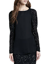 Haute Hippie Sequin Sleeve Blouse Top  $395 Size XS