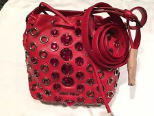 Miu Miu Red Lambskin Pouch Bag with Red Faceted Diamond Stones + Studs RRP £1650