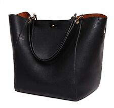 SQLP Women Ladies Leather Tote Bag Handbag Shoulder Bag Black