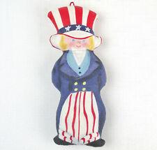 Vtg Cloth Bicentenniel Americana Folk Art Uncle Sam Ornament