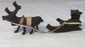 Vintage Folk Wooden Hand Carved Saint Nick And Reindeer With Leather Harness