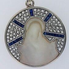 Antique Art Deco Religious Pendant~Platinum+18k Gold Pendant~Rose Cut Diamonds!