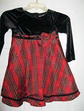 COPPER KEY GIRLS SIZE 6 BLACK TOP PLAID BOTTOM LONG SLEEVE DRESS, EXCELLENT
