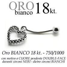 Piercing ombelico belly ORO BIANCO 18kt.pendente CUORE ZIRCONI Neri e Bianchi