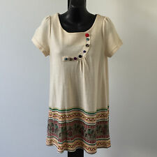 'IMAGINATION' BNWT SIZE 'S' CREAM PRINT CAP SLEEVE COTTON TOP WITH BUTTON DETAIL