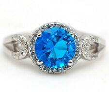 3CT Blue Topaz & Topaz 925 Solid Sterling Silver Ring Jewelry Sz 8 SD3