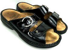 FINN COMFORT Mumbai Black Leather Comfort Slides Women's Sandals Sz 5/36