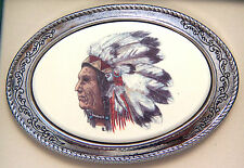 Belt Buckle Barlow Photo Reproduction Color Art Silver West Chief Indian 592409C