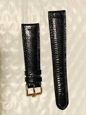 Vintage ROLEX LADIES WATCH BAND 20mm BLACK Lizard Leather GOLD BUCKLE