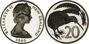 New Zealand: 20 Cents copper-nickel 1980 - Proof