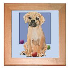 "Puggle Dog Kitchen Ceramic Trivet Framed in Pine 8"" x 8"""