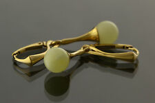 White Round Beads Genuine BALTIC AMBER Silver Gold Plated Earrings 3.3g e61108-2