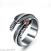 New Unisex's Fashion Silver Stainless Steel Band Feather Ring Adjustable Jewelry