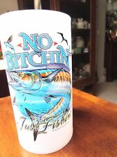 "Beer Mug, ""No Bitching Just Fishing"" floating mug w/cleated handle NIB 6.5"" tall"