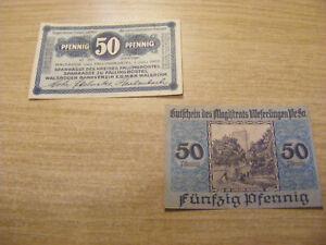2 x 1920 Germany both 50 Pfennig Notgeld Banknotes, Used but stil crisp