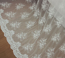 "Off White Embroidery Floral Bridal Lace Fabric 51"" Wide Wedding Dress 0.5 Yard"