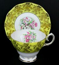 Queen Anne Vintage Bone China Tea Cup and Saucer Yellow and Gold England 4907