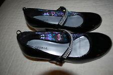 George Girls Rhinestone Kitten Heels Dress Black Shoes 8T 9T 1Y 5Y 7Y Girls NWT