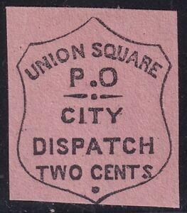 US STAMP BOB LOCAL #141L3 UNION SQ POST OFFICE. NY 1852 2C BLACK ROSE MH/NG