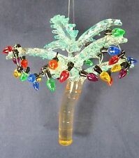 Coastal Beach Tropical Palm Tree Decorated w/ Lights Ornament Hand Made Glass