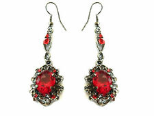 Baroque Vintage Style Long Black Deep Red Dangle Long Drop Earrings E586