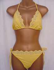 Ladies yellow halter neck triangle bikini size 8 womens tie side swimwear