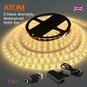 ATOM 5M 5050 SMD 300 LED Warm White Light IP65 Waterproof 12V DC + UK Adapter