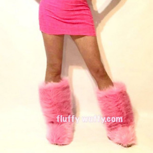 Sz 5 Fluffy Wuffy Wedge Heel Fur Boots Coral Pink Furry Fuzzy Boots (Size 5)