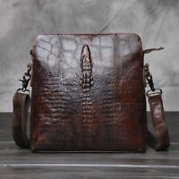 Men's Travel Handbags Cross Body Alligator Pattern Vintage Cowhide Messenger Bag
