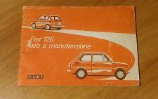 Manuale di istruzioni uso e manutenzione libretto Fiat 126 originale italiano