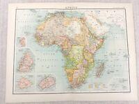 1898 Map of Africa Continental Africa Ascension  Bartholomew Antique Original