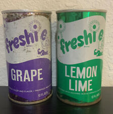 Freshie Lemon Lime And Grape Flat Top Soda Cans