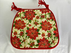 Set of 4 Poinsettia Christmas Chair Pads Cushions Decoration