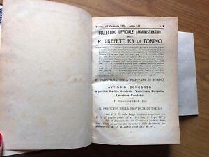 ANTICO LIBRO BOLLETTINO AMMINISTRATIVO R. PREFETTURA  DI TORINO ANNO 1936