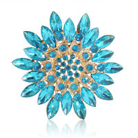 Gold Shinny Snowflake Diamante Brooch Rhinestone Crystal Broach Pin Xmas Gift