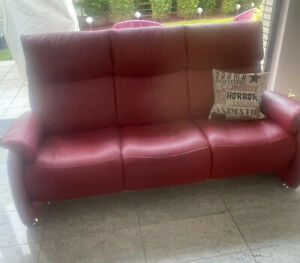 Himolla Leder couch rot himbeere 3er Cumuly