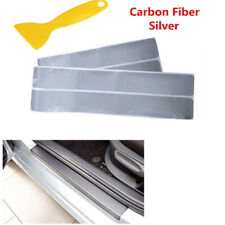 4x 3D Carbon Fiber Car Accessories Door Sill Scuff Protector Stickers & Tool