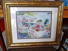 Gold Wooden Framed Watercolor Print Caribbean Beach Gazebo Sunny Flower Garden