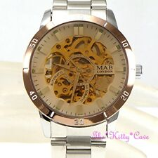 Automatic Mechanical Wind-Up Skeleton Steampunk Silver Brown Unisex Lupah Watch
