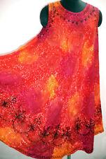 Women's Umbrella Dress, Glittering Stars Tie & Dye Embroidered Midi Top Red