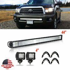 "44""INCH LED Work Light Bar Spot Flood + 4"" Pods OFFROAD 4WD PK 42"" 43"" 45"" 46"""