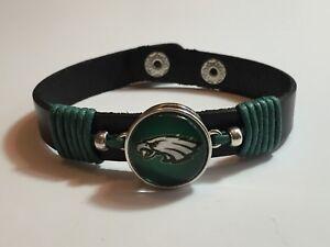 New Philadelphia Eagles Leather Adjustable Bracelet, Gift for Her Mom Him Dad
