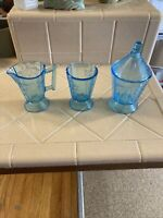 Rare 1880's Bryce Brothers Blue Duquesne Wheat And Barley Pattern 3 PIECES