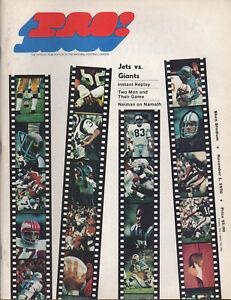 1970 NFL Pro! Magazine NY JETS vs Giants SHEA Stadium Nov 1 Vol 1 No 4