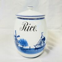 Vintage Antique Windmill Delft Ceramic Rice Canister G.M.T. & Bro 8809 Germany.
