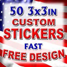 50 3x3 Custom Printed Full Color Outdoor Vinyl Car Bumper Sticker Decal Die Cut