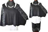 Lagenlook Jersey-Big-Kurz-Shirt Letter-Print schwarz 46,48,50,52,XL,XXL,XXXL