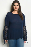 Womens Plus Size Navy Blue Tunic Top Lace Accent 3XL New