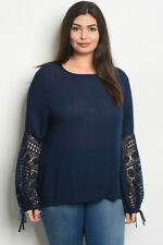 Womens Plus Size Navy Blue Tunic Top Lace Accent 1XL New